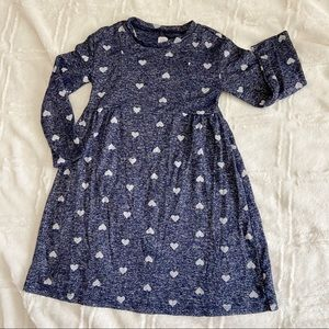 Gap Toddler Dress Navy Blue Hearts Long Sleeve